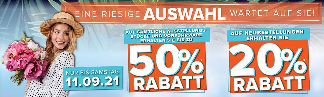 50% Rabatt auf Ausstellungsstücke, 20% Rabatt für Neubestellungen - eine riesige Auswahl erwartet Sie