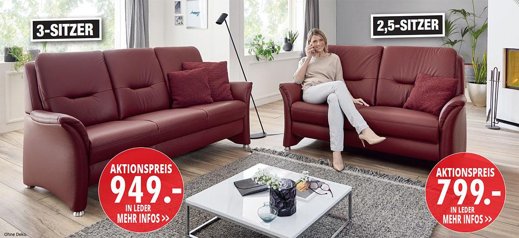 Möbel Hartwig - Home-Wohnkollektion - 3-Sitzer, 2,5-Sitzer