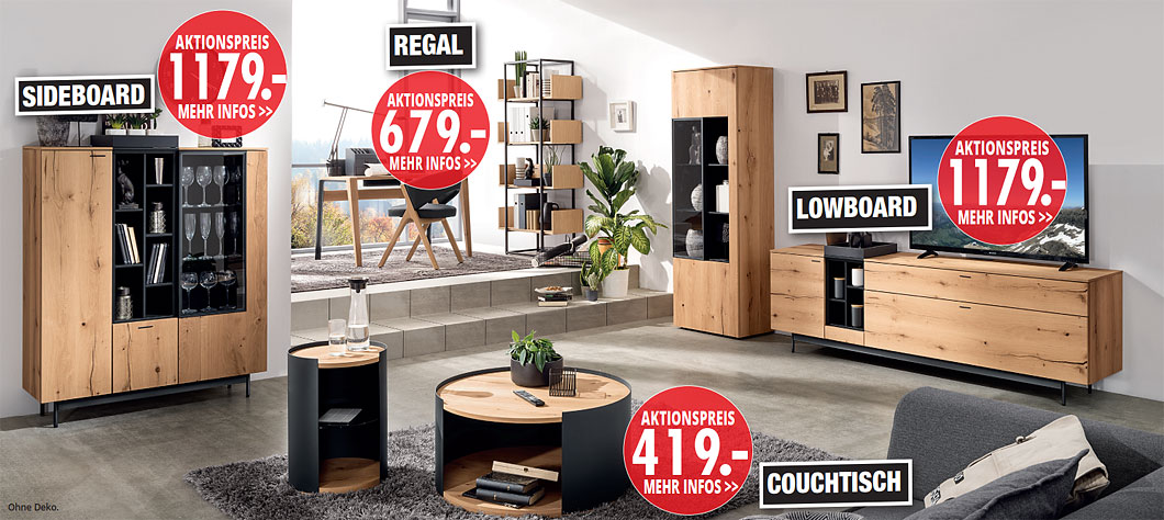 Möbel Hartwig - Home-Wohnkollektion - Sideboard, Regal, Lowboard, Couchtisch