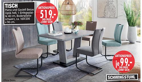 Möbel Hartwig - Home-Wohnkollektion - Tisch + Schwingstuhl
