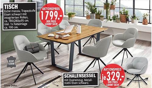 Möbel Hartwig - Home-Wohnkollektion - Tisch, Schalensessel