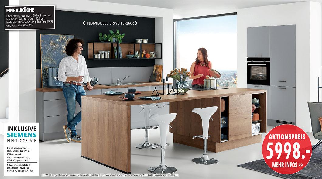 Möbel Hartwig - aktuelle Küchentrends - EINBAUKÜCHE Lack Steingrau matt, Eiche Havanna Nachbildung