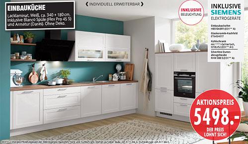 Möbel Hartwig - aktuelle Küchentrends - EINBAUKÜCHE Lacklaminat, Weiß