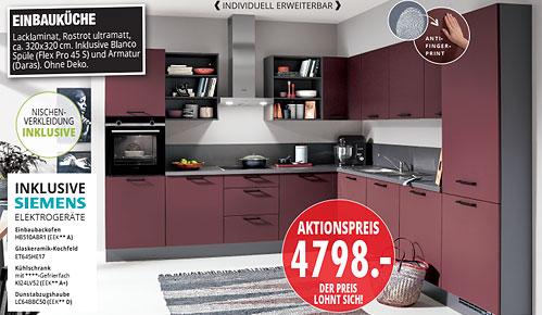 Möbel Hartwig - aktuelle Küchentrends - EINBAUKÜCHE Lacklaminat, Rostrot ultramatt