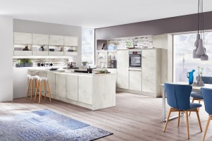 Günstige Küchen beim Küchensonderverkauf - Betonoptik Küche Riva891 Weissbetondekor