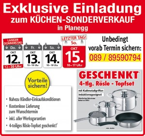 Exklusive Gratis-Vorteile nutzen und günstig die neue Küche kaufen beim Küchensonderverkauf bei Küche&Raum in 82152 Planegg
