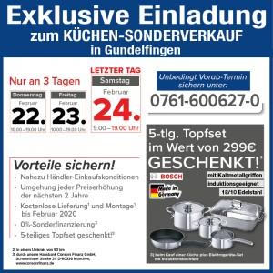 Mega günstig die neue Traumküche kaufen: fast Händlereinkaufskonditionen, 2 Jahre Planungssicherheit - beim Küchensonderverkauf bei Mega Küchen in 79194 Freiburg-Gundelfingen
