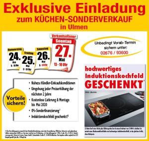 Nutzen Sie die exklusiven Vorteile und Aussnahmekonditionen beim exklusiven Küchensonderverkauf bei Möbel May in 56766 Ulmen