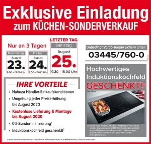 2 Jahre Planungssicherheit, Lieferung und Montage kostenlos, Sonderfinanzierung, hochwertiges Induktionskochfeld geschenkt: Naumburger Möbelcenter 06618 Naumburg