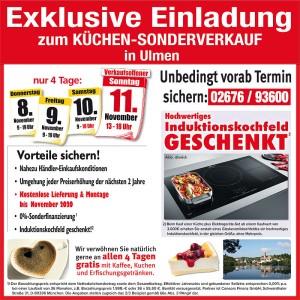 Nutzen Sie die exklusiven Vorteile und Ausnahmekonditionen beim exklusiven Küchen-Sonderverkauf bei Möbel May in 56766 Ulmen