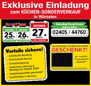 Küchensonderverkauf bei Muschenich - exklusive Vorteile: 2 Jahre Planungssicherheit Lieferung + Montage kostenlos, Induktionskochfeld gratis