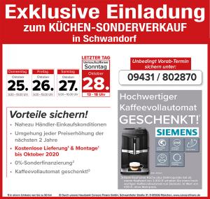 Lieferung + Montage gratis, Kaffeevollautomat geschenkt, 2 Jahre Planungs- und Preissicherheit - Nutzen Sie die exklusiven Vorteile beim Küchensonderverkauf bei Mega Möbel in 92421 Schwandorf!
