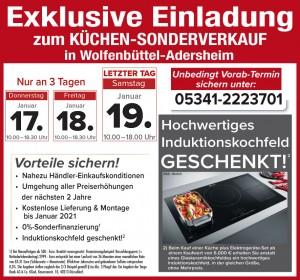Nutzen Sie die exklusiven Vorteile wie nahezu Händlereinkaufspreise, 2 Jahre Planungssicherheit, Induktionskochfeld gratis: Küchensonderverkauf bei Möbelhof Adersheim in 38304 Wolfenbüttel-Adersheim