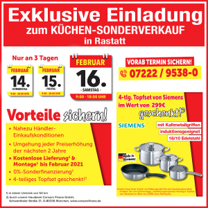 Exklusive Ausnahmekonditionen, nahezu Händler-Einkaufskonditionen beim günstigen Küchen-Sonderverkauf bei Mega Möbel in 76437 Rastatt