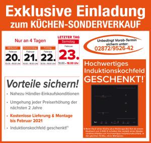 Nutzen Sie die exklusiven Vorteile und Aussnahmekonditionen beim exklusiven Küchensonderverkauf bei Möbelhaus Hünting, 46414 Rhede