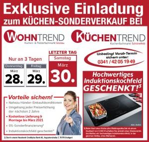 2 Jahre Planungssicherheit + Preisstabilität bis Maerz 2021, nahezu Händlereinkaufskonditionen: Wirklich günstig Küchen kaufen mit exklusiven Vorteilen beim Küchen-Sonderverkauf bei Wohntrend in Leipzig