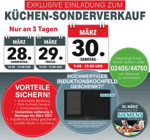 Küchen-Sonderverkauf bei Muschenich - exklusive Vorteile: gratis Lieferung + Montage bis März 2021, Induktionskochfeld gratis
