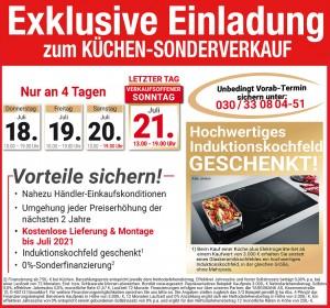 Günstig die neue Traumküche kaufen: fast Händlereinkaufskonditionen, 2 Jahre Planungssicherheit - beim Küchen-Sonderverkauf bei Flamme Küchen + Möbel, 13597 Berlin