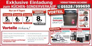 Verkaufsoffener Sonntag, Küchen-Sonderverkauf mit exklusiven Vorteilen: Nahezu Händler-Einkaufskonditionen, Kostenlose Lieferung & Montage bis September 2021 - Eichsfelder Möbelcenter
