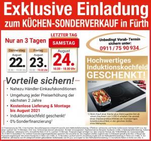 Günstig die neue Traumküche kaufen: fast Händlereinkaufskonditionen, 2 Jahre Planungssicherheit - beim Küchen-Sonderverkauf bei Flamme Küchen + Möbel, 90677 Fürth