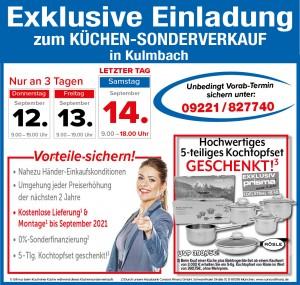 Exklusive Vorteile beim Küchen-Sonderverkauf nutzen: 2 Jahre Planungssicherheit, Lieferung + Montage gratis bis September 2021 - Möbel SB Halle, 95326 Kulmbach