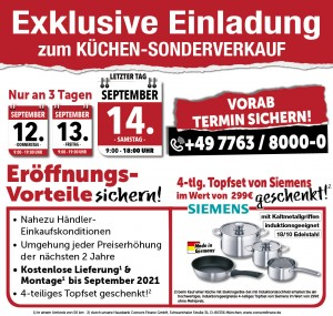 2 Jahre Planungssicherheit + Preisstabilität bis September 2021, nahezu Händlereinkaufskonditionen, 4teiliges Topfset gratis, exklusive Sonderkonditionen beim Küchen-Sonderverkauf bei Möbel Brotz, Mega Möbel, 79730 Murg