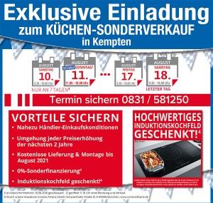 Exklusive Vorteile sichern beim super-günstigen Kuechensonderverkauf bei Küchen Mayer während der Allgäuer Festwoche in 87435 Kempten