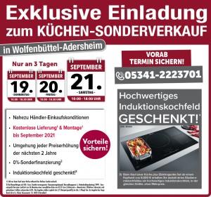 Nutzen Sie die exklusiven Vorteile wie nahezu Händlereinkaufspreise, Induktionskochfeld gratis: Küchensonderverkauf bei Möbelhof Adersheim in 38304 Wolfenbüttel-Adersheim