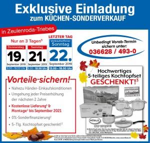 xExklusive Vorteile nutzen - 2 Jahre Planungssicherheit, Wunschlieferung + Montage GRATIS - beim günstigen Küchen-Sonderverkauf bei der Möbel SB Halle GmbH in 07937 Zeulenroda-Triebes