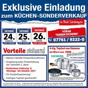 2 Jahre Planungssicherheit + Preisstabilität bis April 2021, nahezu Händlereinkaufskonditionen, 4-teiligesTopfset gratis, exklusive Sonderkonditionen Küchensonderverkauf bei mega Küchen, 79713 Bad Säckingen