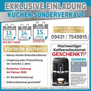 2 Jahre Lieferung zum Wunschtermin gratis, Kaffeevollautomat geschenkt, 2 Jahre Planungs- und Preissicherheit - Nutzen Sie die exklusiven Vorteile beim Küchensonderverkauf bei Mega Küche in 92421 Schwandorf!