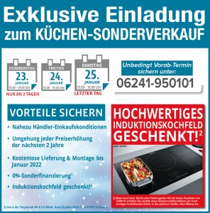 Küchen-Sonderverkauf bei Möbel Gradinger in Worms nur an 3 Tagen