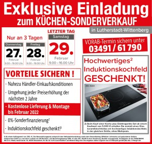 Küchen-Sonderverkauf bei Möbel Mit: Ausnahmekonditionen - 2 Jahre Planungs- und Preissicherheit, Induktionskochfeld geschenkt!
