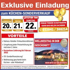 Exklusive Vorteile beim Küchen-Sonderverkauf nutzen: 2 Jahre Planungssicherheit, Lieferung bis Februar 2022 kostenlos, Kranepuhl´s Optimale Möbelmärkte, 14806 Bad Belzig
